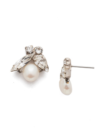 Elisa Post Earring in Antique Silver-tone Crystal