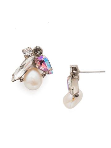 Elisa Post Earring in Antique Silver-tone Misty Pink