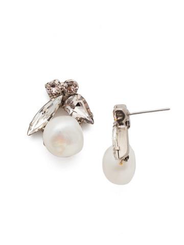 Elisa Post Earring in Antique Silver-tone Soft Petal