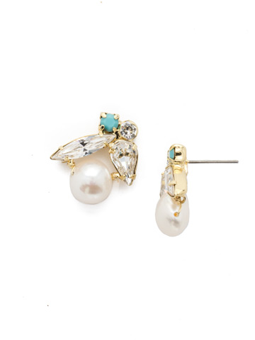 Elisa Post Earring in Bright Gold-tone Polished Pearl