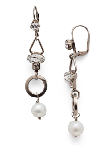 Aryana French Wire Earring in Antique Silver-tone Polished Pearl