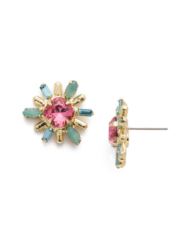 Luna Stud Earring in Bright Gold-tone Candy Pop