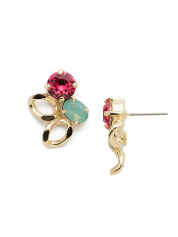 Cheney Stud Earring in Bright Gold-tone Candy Pop