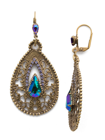 Fiona Drop Earring in Antique Gold-tone Game of Jewel Tones