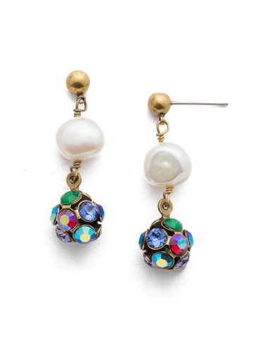 Cailey Post Earring in Antique Gold-tone Game of Jewel Tones