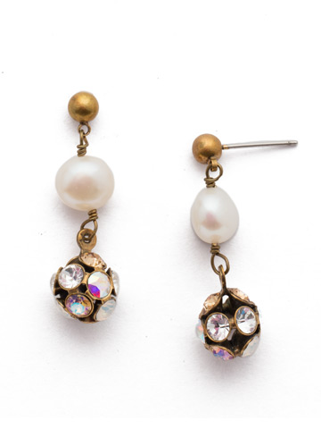 Cailey Post Earring in Antique Gold-tone Rocky Beach