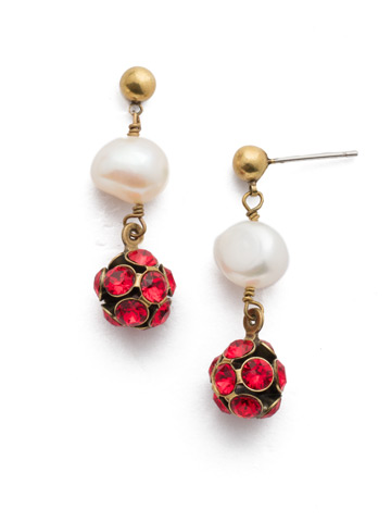 Cailey Post Earring in Antique Gold-tone Sansa Red