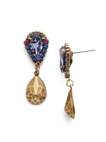 Lysa Drop Earring in Antique Gold-tone Game of Jewel Tones