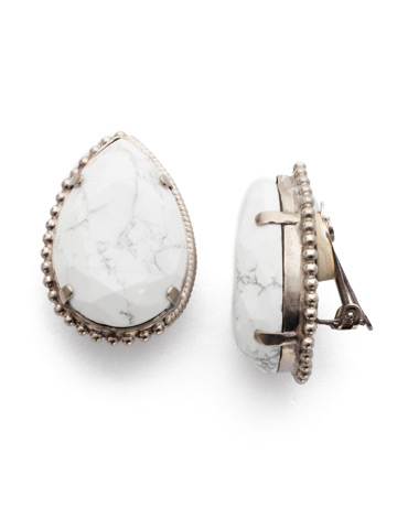 Gilly Clip Earring in Antique Silver-tone Glacier