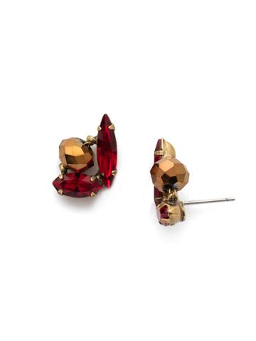 Melisandre Post Earring in Antique Gold-tone Go Garnet