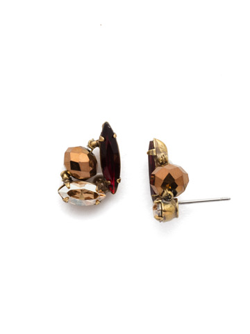 Melisandre Post Earring in Antique Gold-tone Mighty Maroon