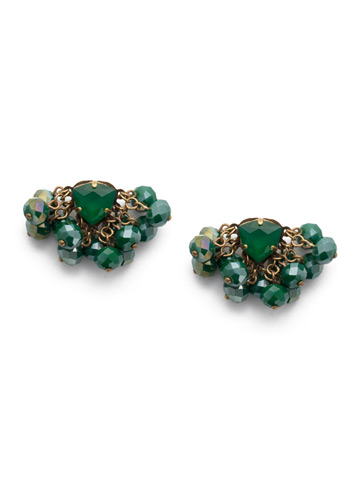 Brienne Post Earrings in Antique Gold-tone Game of Jewel Tones