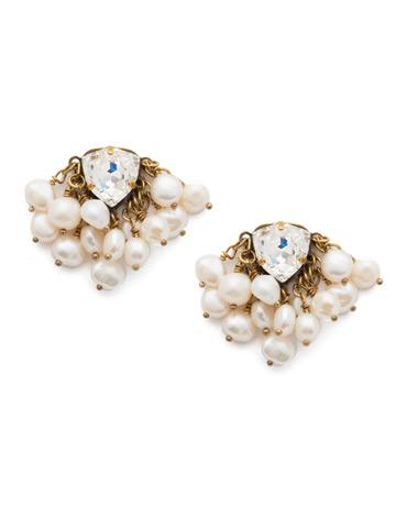 Brienne Post Earrings in Antique Gold-tone Modern Pearl