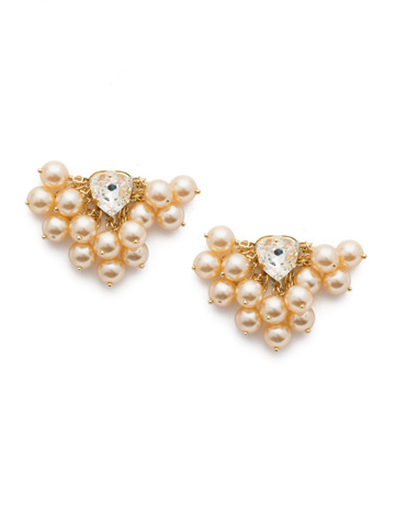 Brienne Post Earrings in Bright Gold-tone Pearl Luster