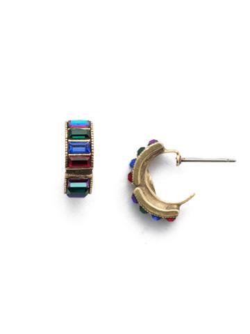 Meera Hoop Earring in Antique Gold-tone Game of Jewel Tones