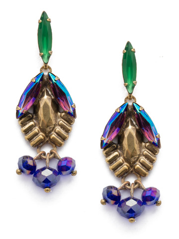 Lillie Drop Earring in Antique Gold-tone Game of Jewel Tones
