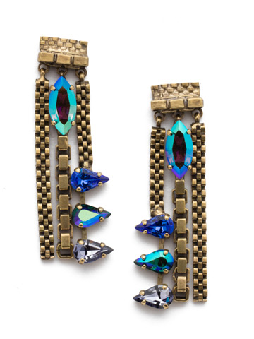 Brienne Drop Earring in Antique Gold-tone Game of Jewel Tones