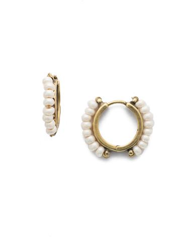 Rowe Hoop Earring in Antique Gold-tone Modern Pearl