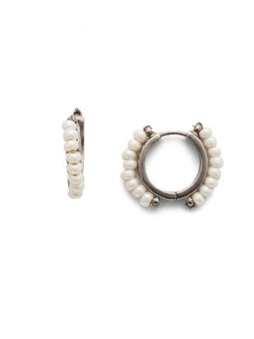 Rowe Hoop Earring in Antique Silver-tone Modern Pearl