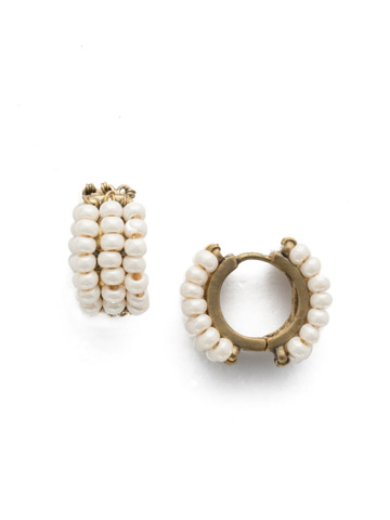 Xali Hoop Earring in Antique Gold-tone Modern Pearl