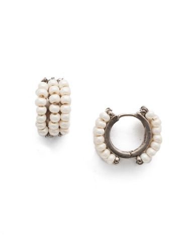 Xali Hoop Earring in Antique Silver-tone Modern Pearl