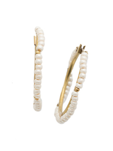 Nila Hoop Earring in Antique Gold-tone Modern Pearl