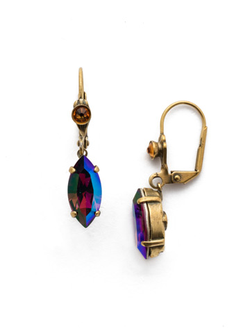 Melanie French Wire Earring in Antique Gold-tone Game of Jewel Tones