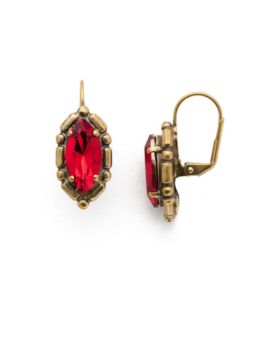 Yara French Wire Earring in Antique Gold-tone Sansa Red