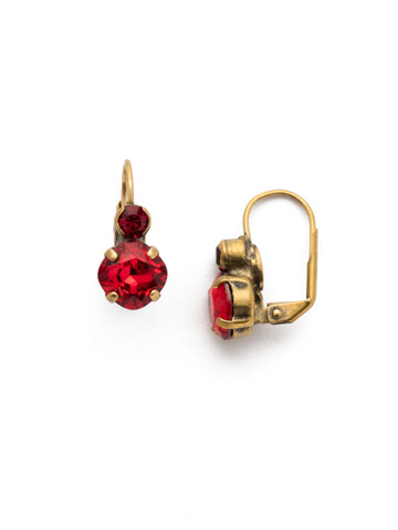 Papaver French Wire Earring in Antique Gold-tone Sansa Red