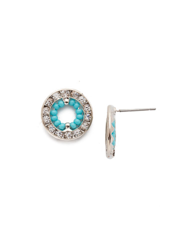 Fire and Ice Post Earring in Rhodium Tahitian Treat