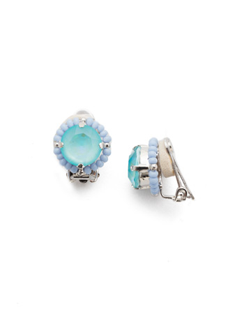 Aliana Clip Earrings in Rhodium Seersucker