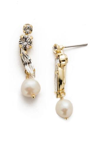 Lorraine Dangle Earrings in Bright Gold-tone Modern Pearl
