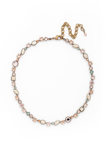 Classic Tee-Shirt Necklace in Antique Gold-tone Apricot Agate