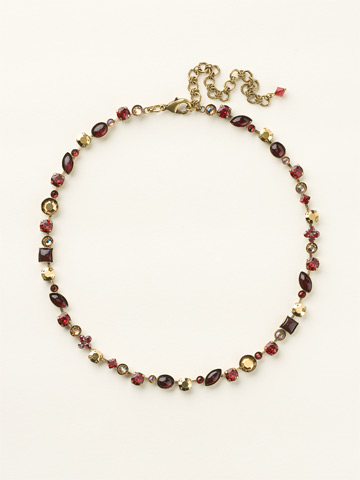 Classic Tee-Shirt Necklace in Antique Gold-tone Go Garnet