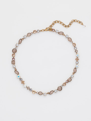 Classic Tee-Shirt Necklace in Antique Gold-tone Neutral Territory