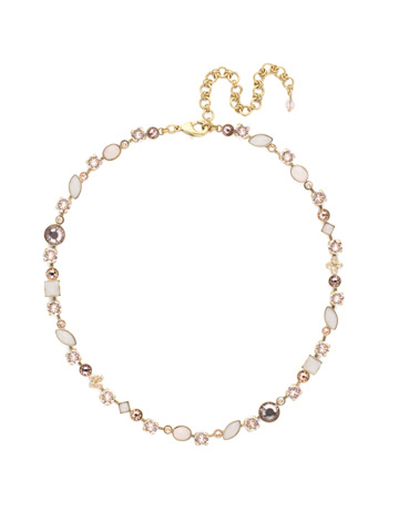 Classic Tee-Shirt Necklace in Antique Gold-tone Satin Blush