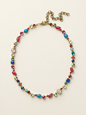 Classic Tee-Shirt Necklace in Antique Gold-tone Southwest Brights