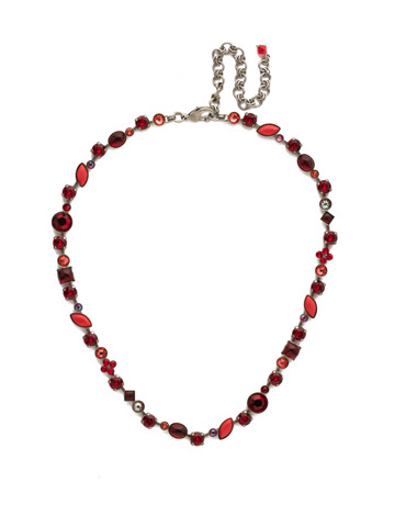 Classic Tee-Shirt Necklace in Antique Silver-tone Red Ruby
