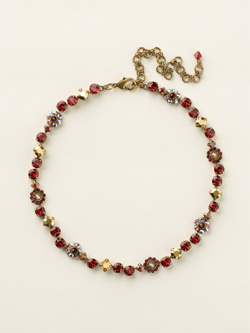 Classic Crystal Floral Necklace in Antique Gold-tone Go Garnet