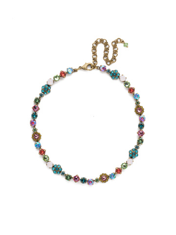 Classic Crystal Floral Necklace in Antique Gold-tone Happy Birthday