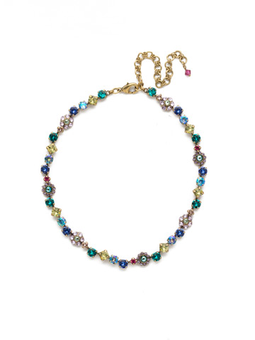 Classic Crystal Floral Necklace in Antique Gold-tone Wildflower