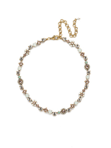 Classic Crystal Floral Necklace in Antique Gold-tone White Magnolia