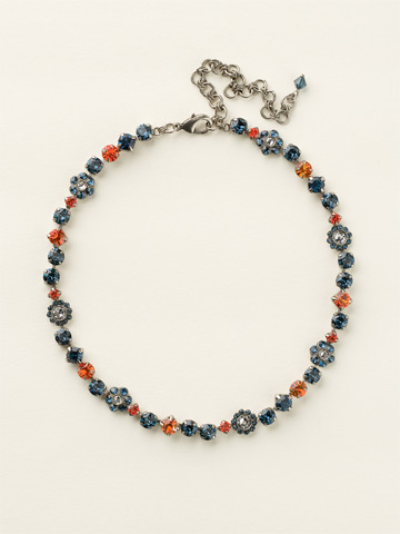 Classic Crystal Floral Necklace in Antique Silver-tone Battle Blue