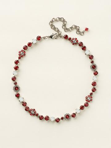 Classic Crystal Floral Necklace in Antique Silver-tone Crimson Pride