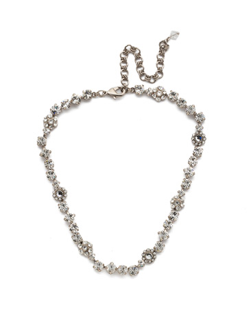 Classic Crystal Floral Necklace in Antique Silver-tone Crystal
