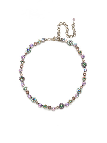 Classic Crystal Floral Necklace in Antique Silver-tone Lilac Pastel