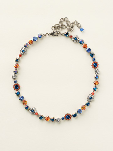 Classic Crystal Floral Necklace in Antique Silver-tone Orange Crush