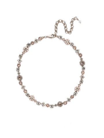 Classic Crystal Floral Necklace in Antique Silver-tone Soft Petal