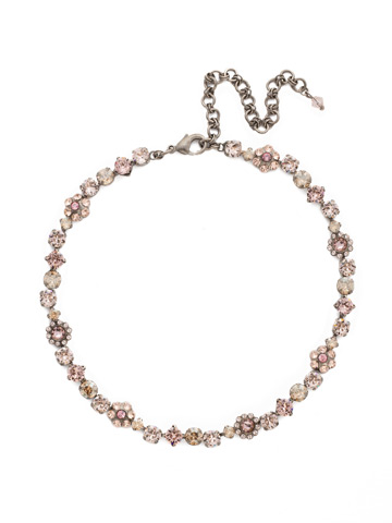 Classic Crystal Floral Necklace in Antique Silver-tone Satin Blush