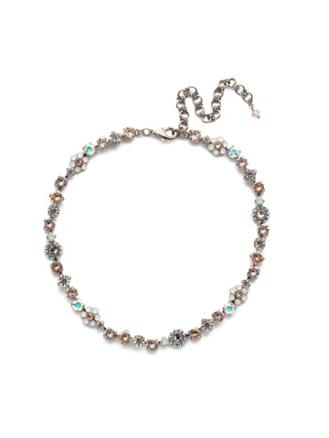 Classic Crystal Floral Necklace in Antique Silver-tone Silky Clouds